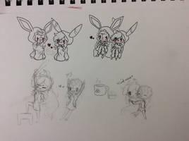 Doodles of me and mai waifu by GoddessNintendo