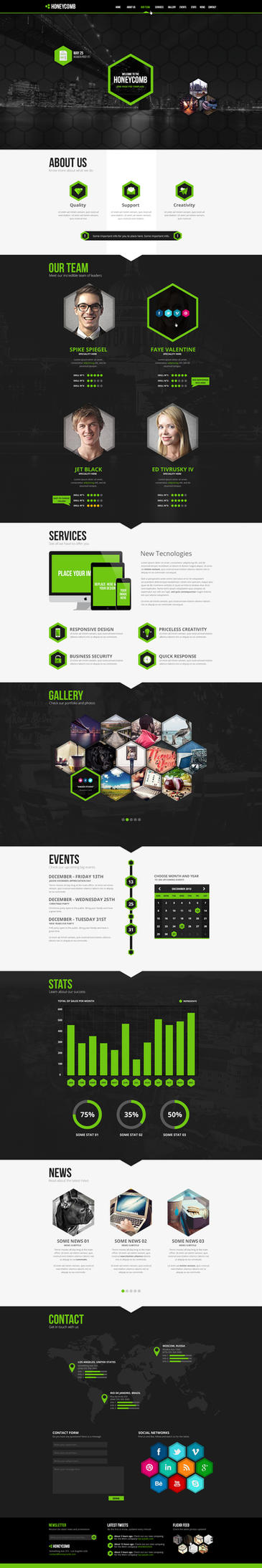 Honeycomb HTML5  Responsive One Page Template by odindesign