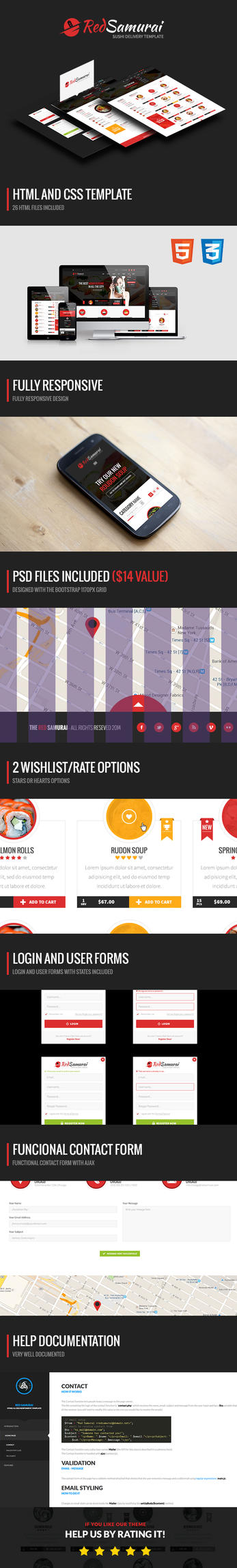 Red Samurai HTML5 and CSS3 Responsive Template by odindesign