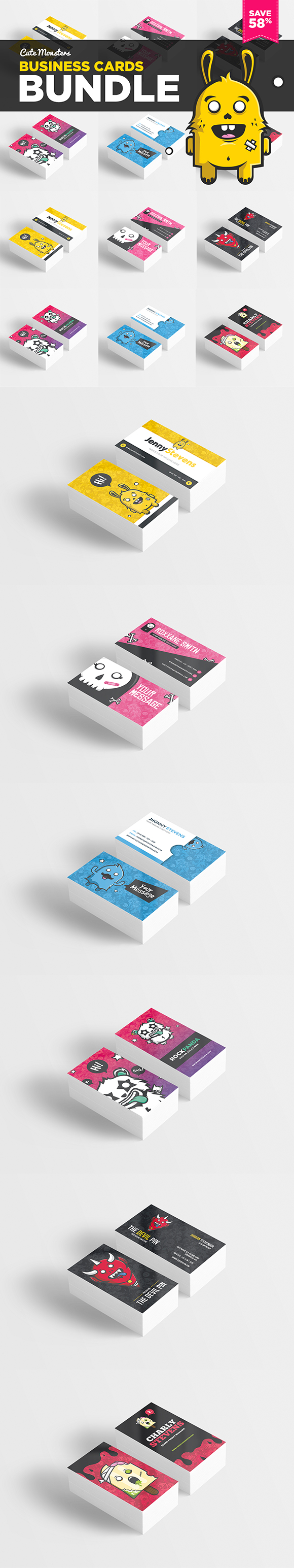 Cute Monsters Business Card Bundle by odindesign