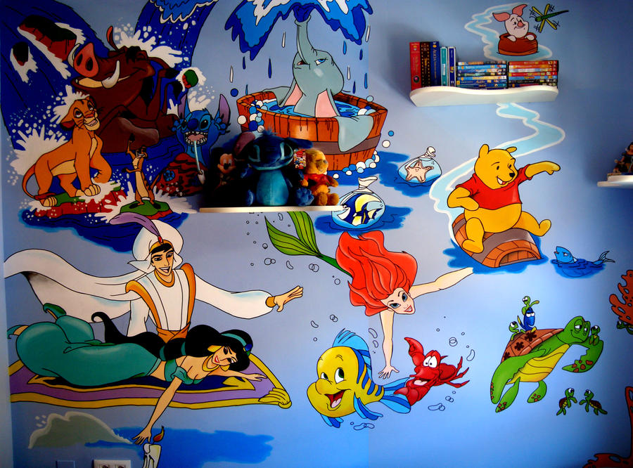 Mural disney by raw j on deviantart for Character mural