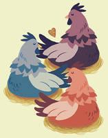 three french hens by littlemotorcar
