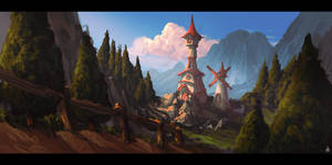 Animation themed matte painting concept