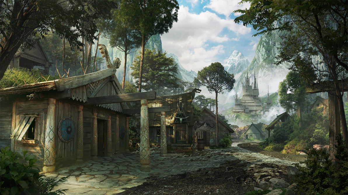 Fantasy Viking Village by Daazed-DA