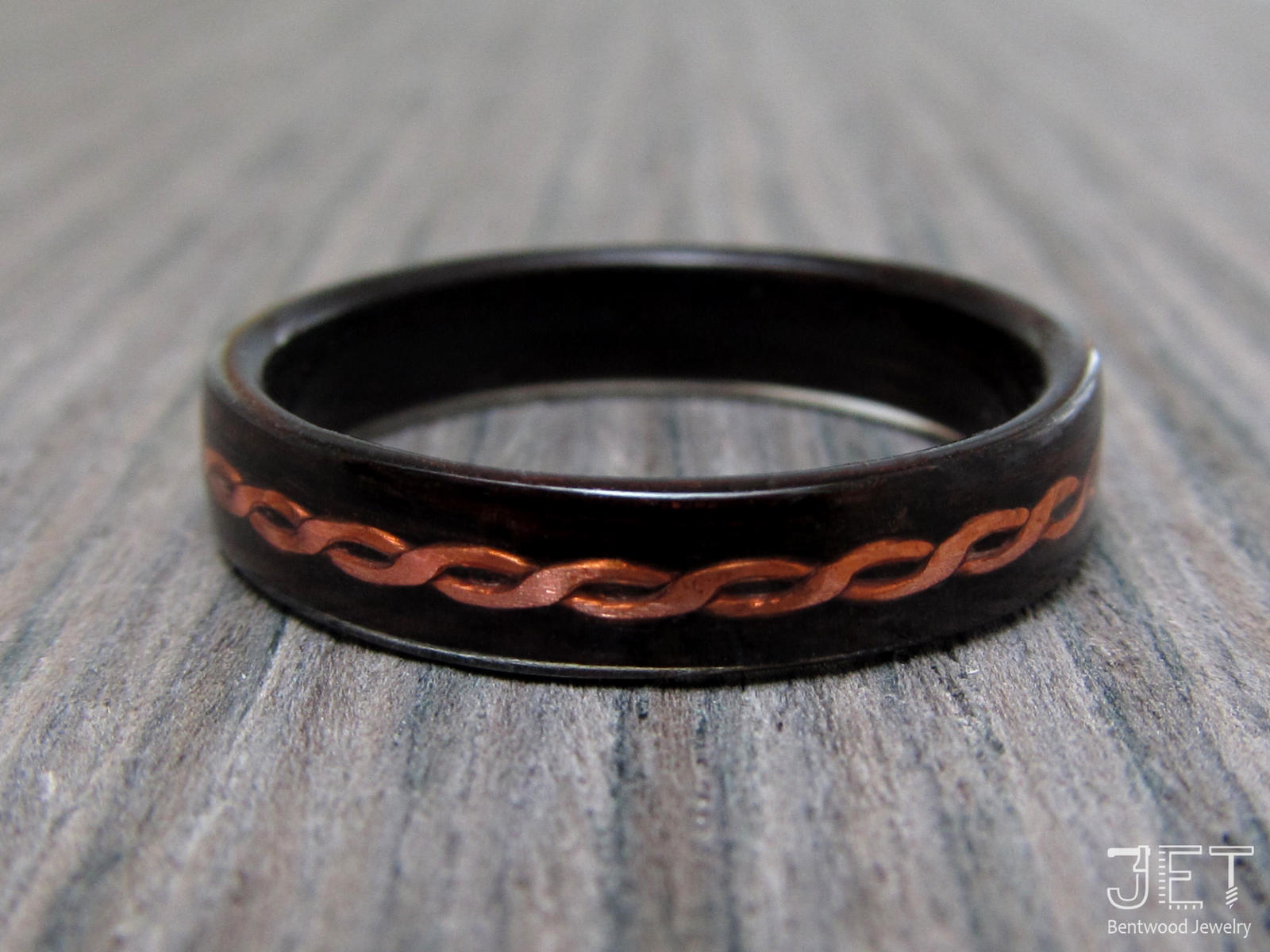 Ebony Bentwood Ring with Twisted Copper Wire Inlay by SycoClown on ...