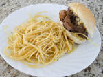 Rib Eye Sandwich and pasta