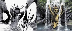 2017 - Shaan - Cataracte - Statue cascade - full by MonsieurCliff