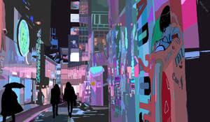 Neon city scape