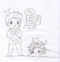 Destiel + kitten by georgiatheninja