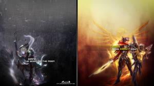 LoL - Diana ~ Leona Wallpaper ~xRazerxD by xRazerxD