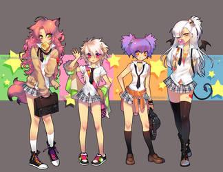 high school girls by einlee
