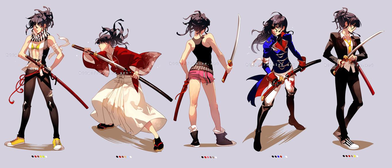Raven Costumes+Katana by einlee