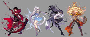 RWBY V5 Character Arts by einlee