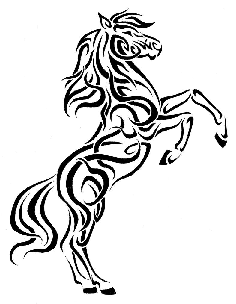 It's just an image of Juicy Tribal Horse Drawing