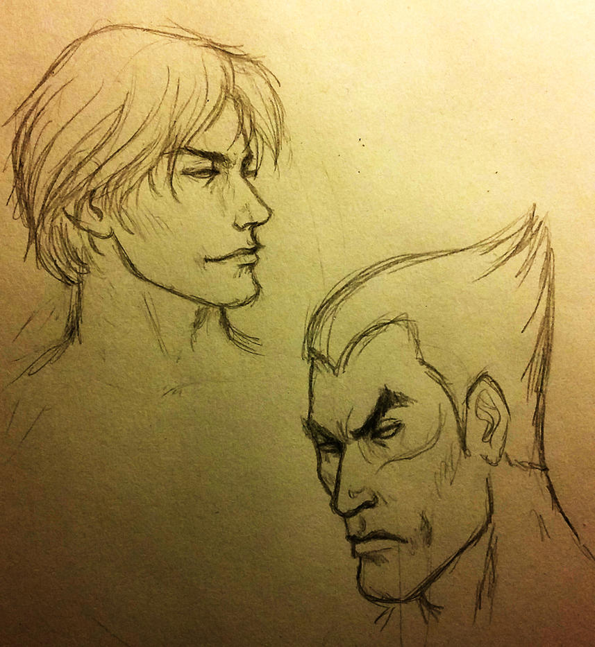 5 min doodle - Lee Chaolan and Kazuya Mishima by TheHellcow