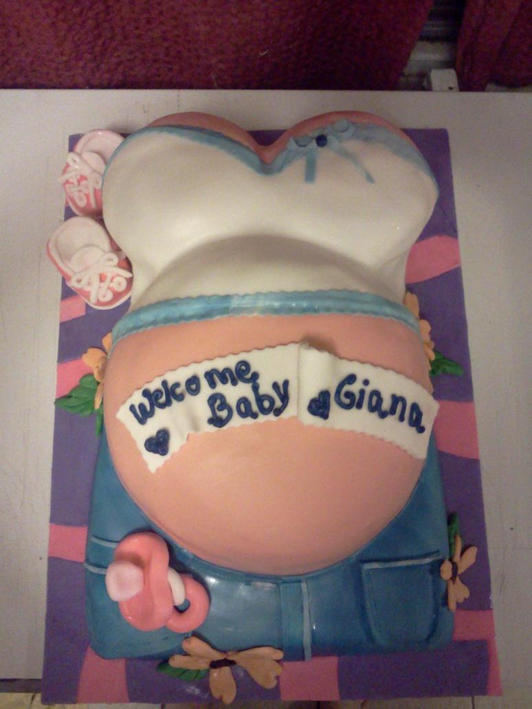 baby shower belly cake by greeneyes3675 on deviantart