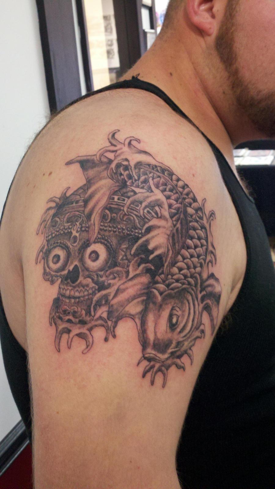 Koi fish tattoo black and grey for Koi fish black and grey