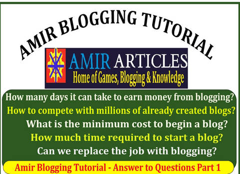 Amir Blogging Tutorial - Answer to Questions Part