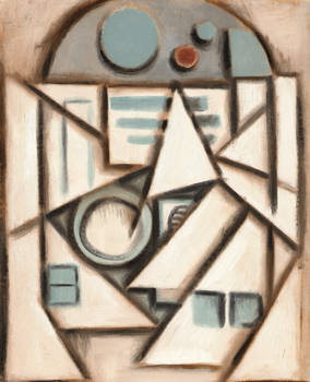 R2D2 abstract cubism painting