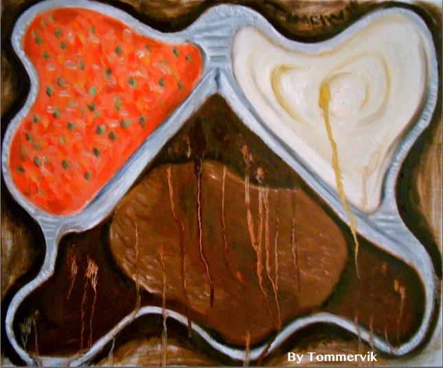 salisbury steak tv dinner painting by TOMMERVIK