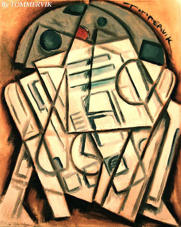 Cubism R2d2 Painting by Tommervik by TOMMERVIK
