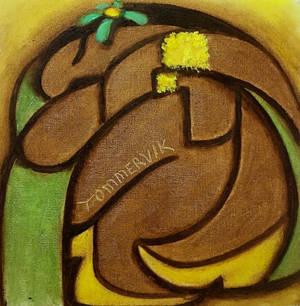 Tommervik Abstract Hawaiian Hula Girl Painting