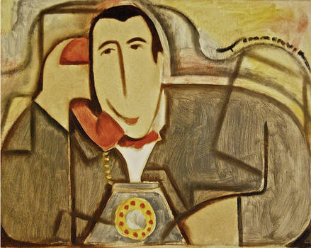 Cubist Pee-we Herman Talking On The Phone Painting
