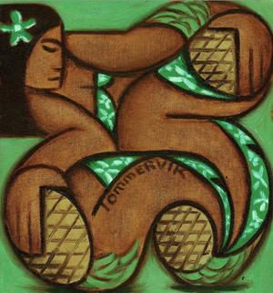 Pineapple Hawaiian Art Woman Oil Painting