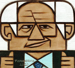 Policitican Bernie Sanders Two Thumbs Up Painting