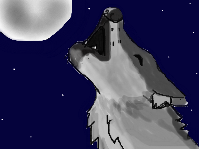 drawing of a wolf howling at he moon by lizzy4935