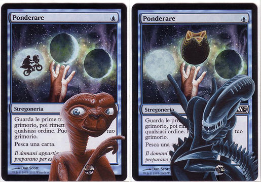 Ponder (E.T. + Alien) - mtg altered