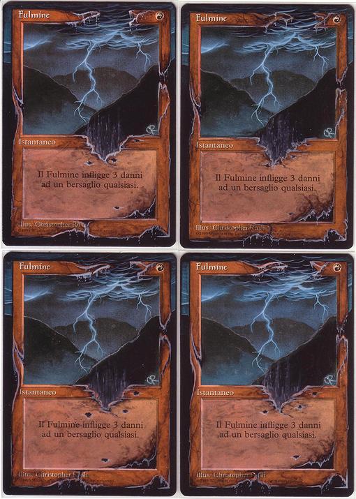 4x Lightning Bolt - altered mtg by eddy-pochy