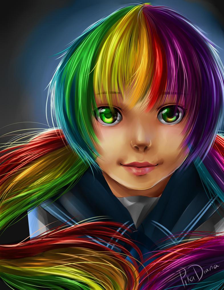Rainbow Hair by pikadiana