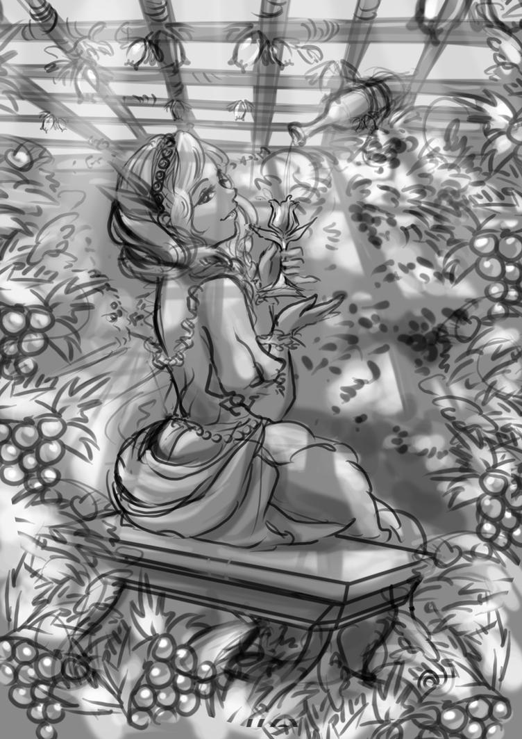 Princess of the Crystal Vineyard (Sketch) by pikadiana