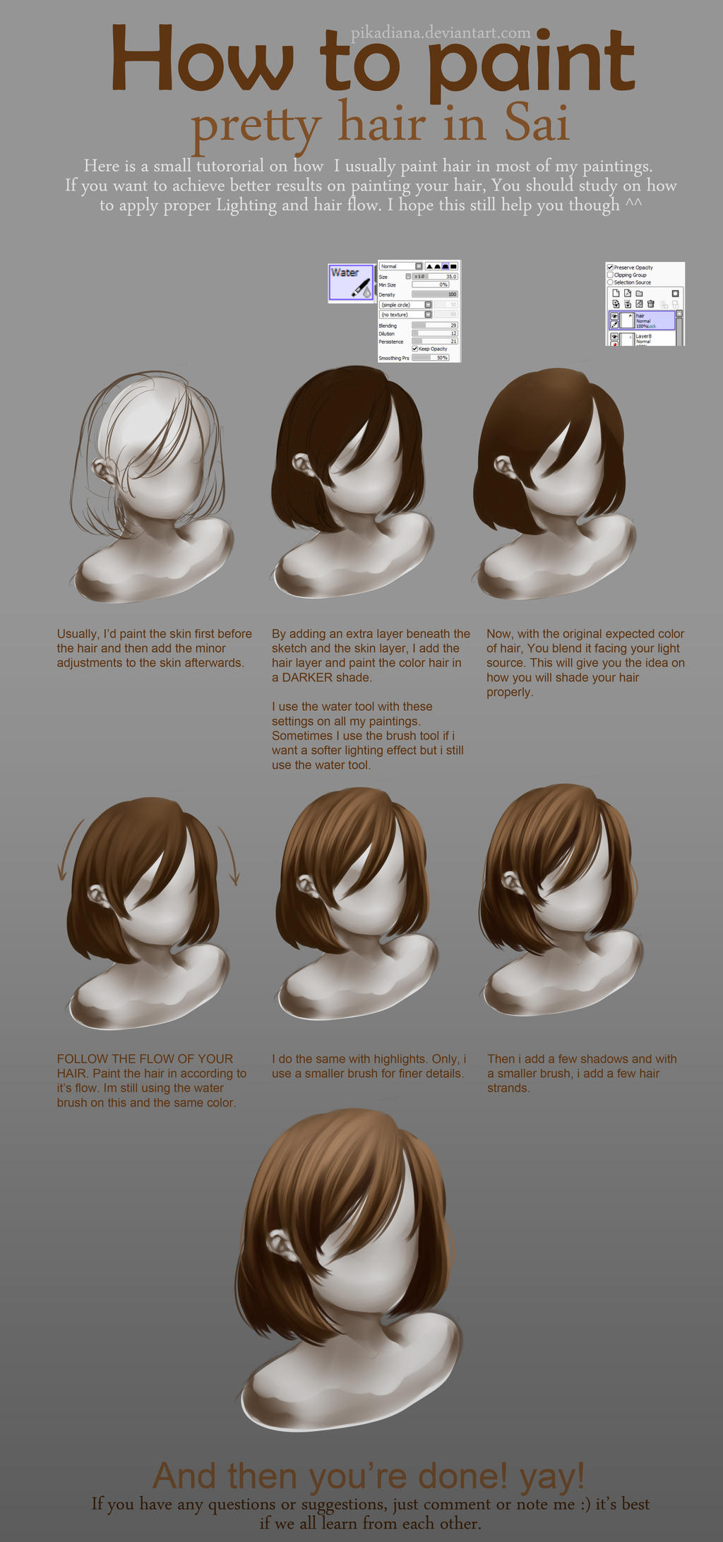 TUTORIAL: How to paint purrty hair with SAI by pikadiana
