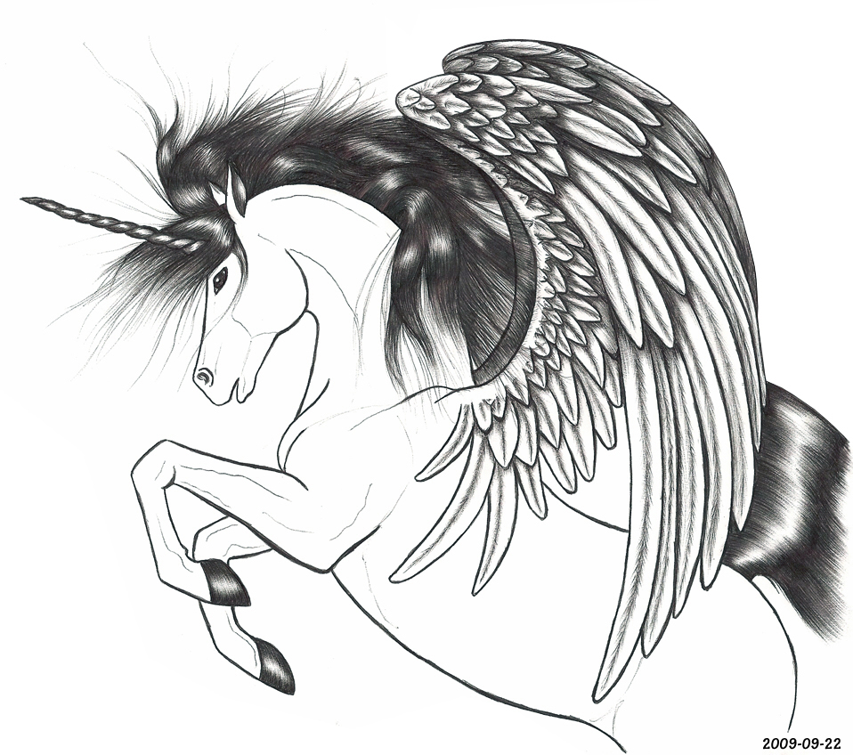 Unicorn with wings 2009 09 22 by blood huntress on deviantart for Unicorn with wings coloring pages