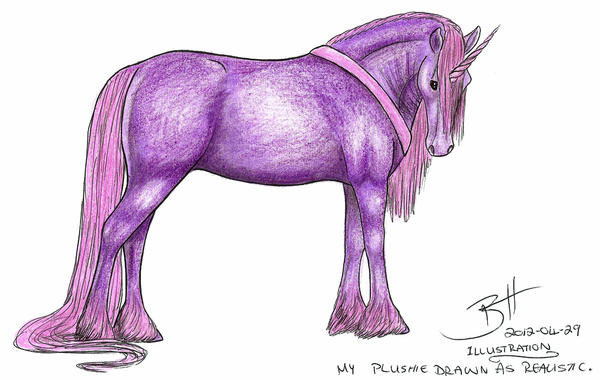 My Plushie Drawn As Realistic Unicorn Illustration by ...