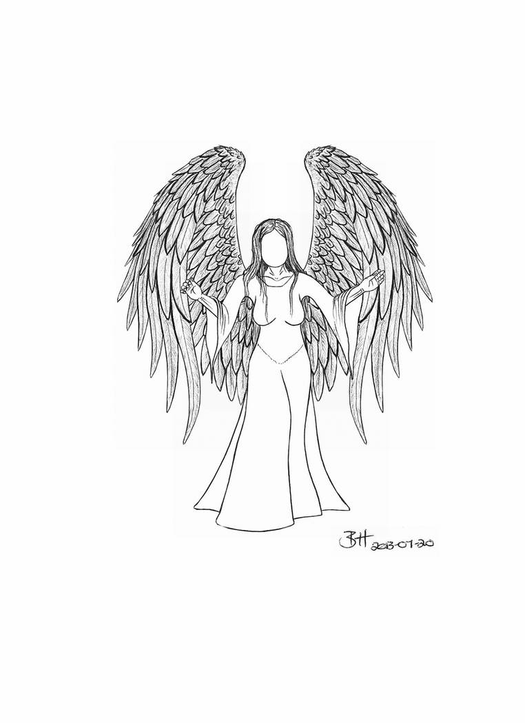 Traditional angel drawing 2013 07 20 by blood huntress