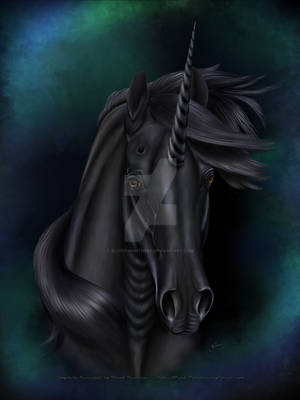 Christmas - Merry Yule 2014 - Black Unicorn by Blood-Huntress