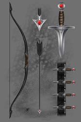 DM RP Profile Bow, Arrows, Daggers by Blood-Huntress