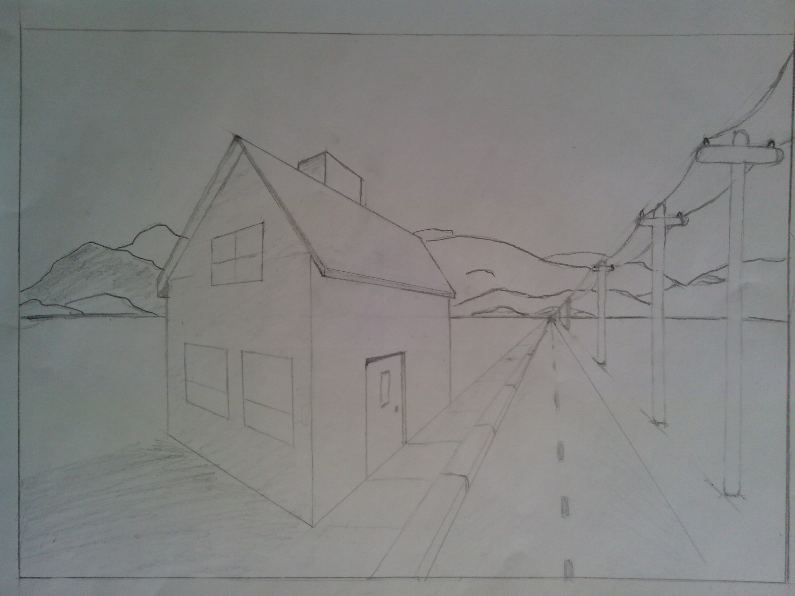 Practicing 2-Point Perspectives, Lonely House by Stone-Cold-Stone