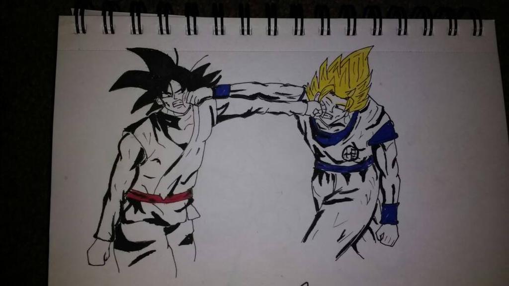 Black Goku (Base Form) Vs Goku (Super Saiyan 2) by zTLEG360QSz
