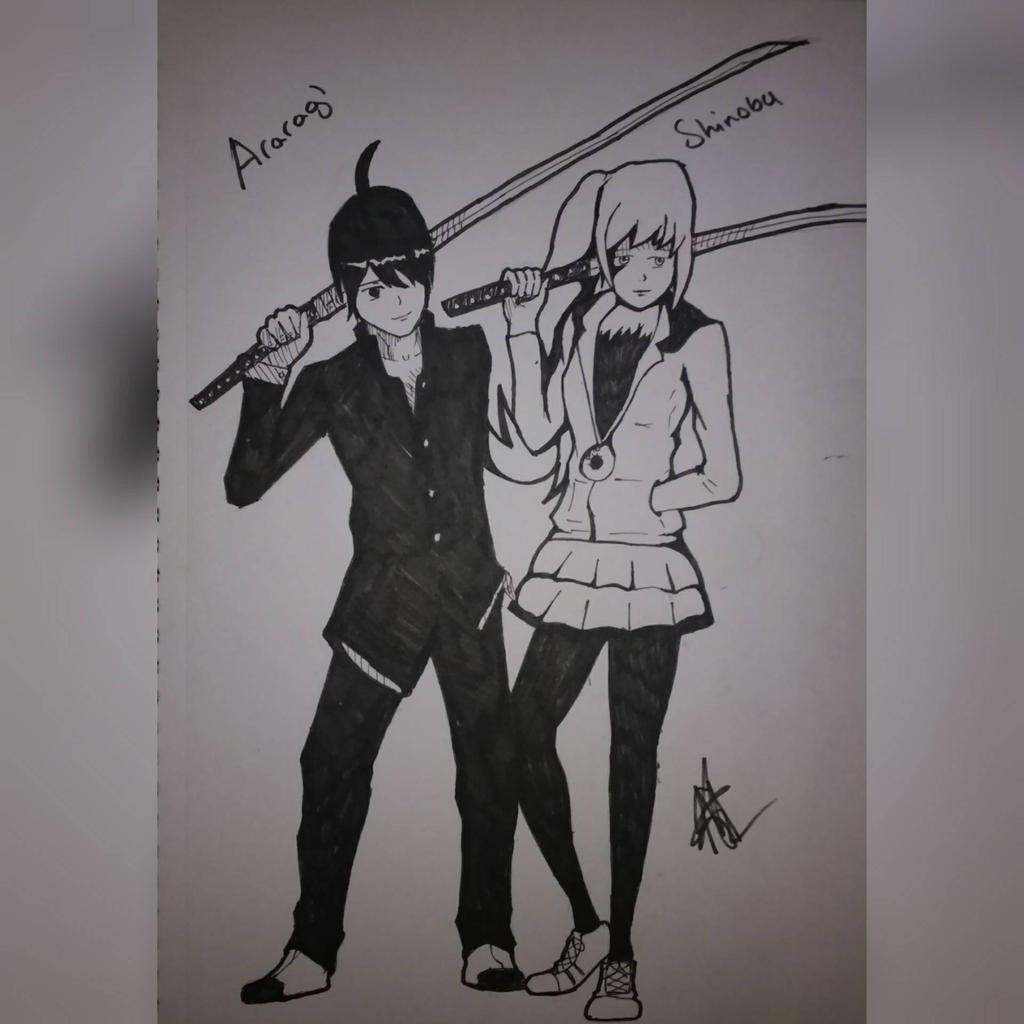 Araragi and Shinobu by zTLEG360QSz