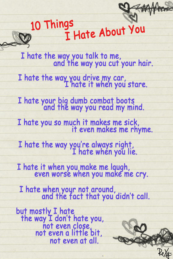 10 things that i hate: