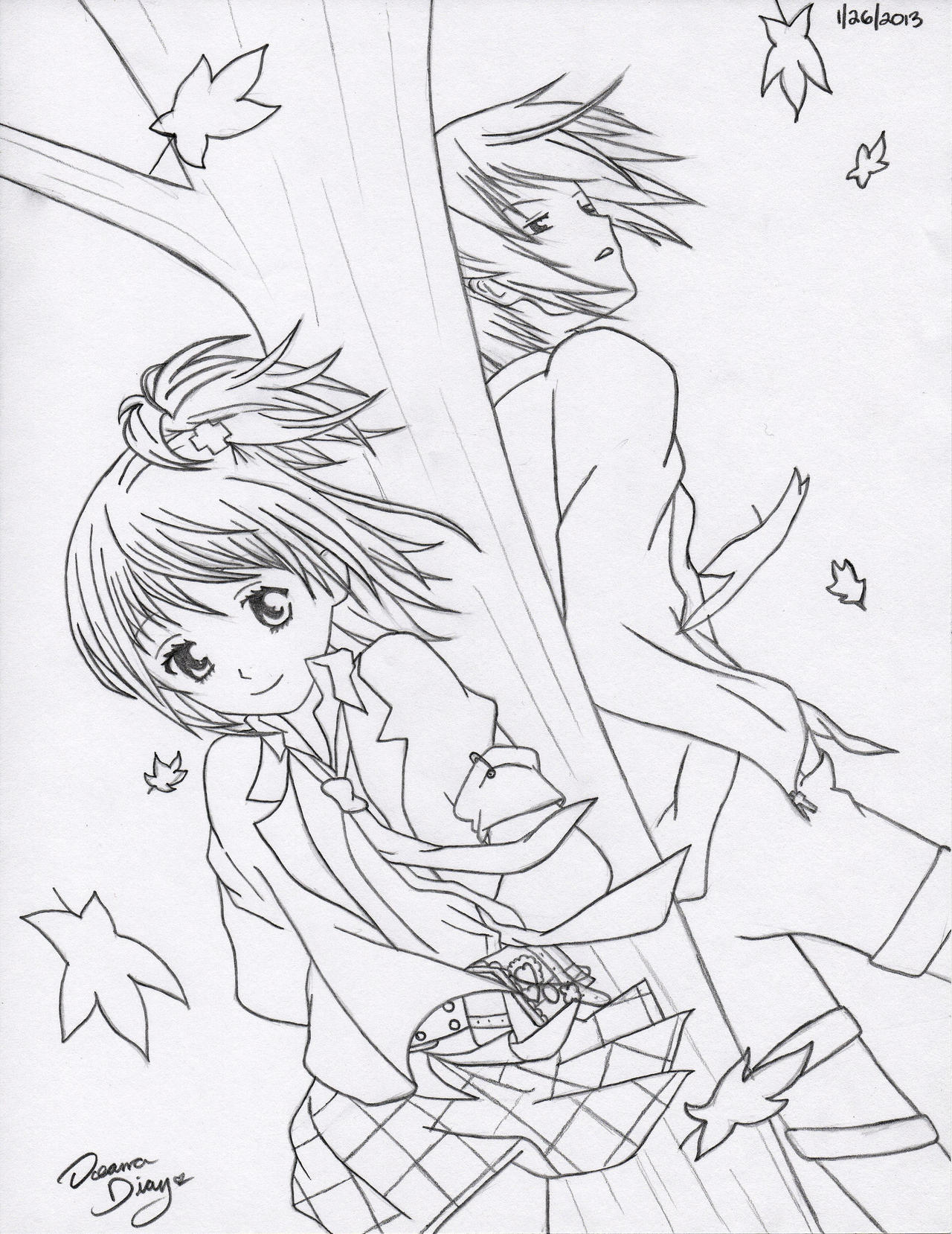 Amu and Ikuto - Windy Day (WIP) by RoXyBeaR147
