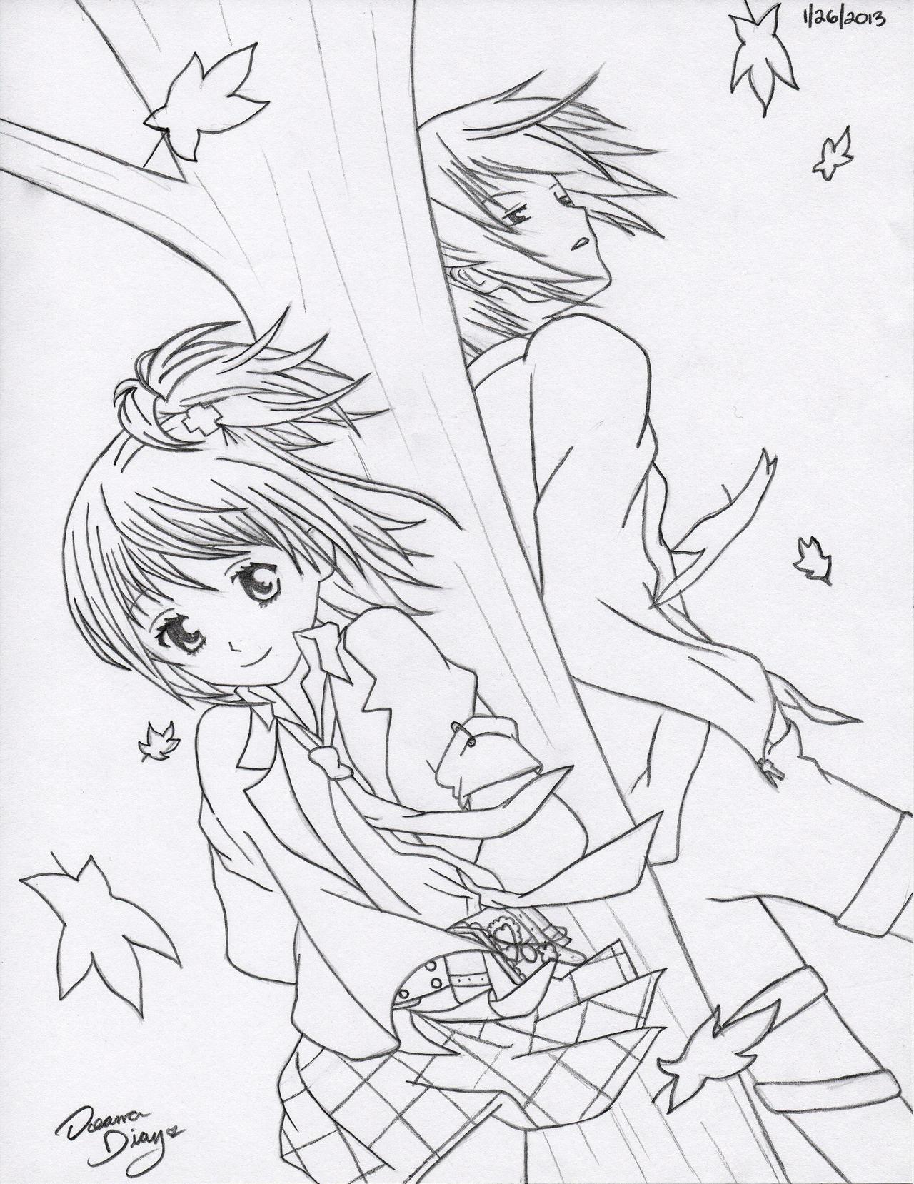 Amu and Ikuto - Windy Day (WIP) by RoXyBeaR147