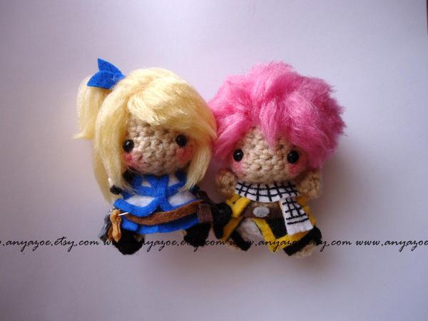 Lucy and Natsu Amigurumi by AnyaZoe