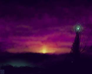 Sunset over the elven settlement by Terafima