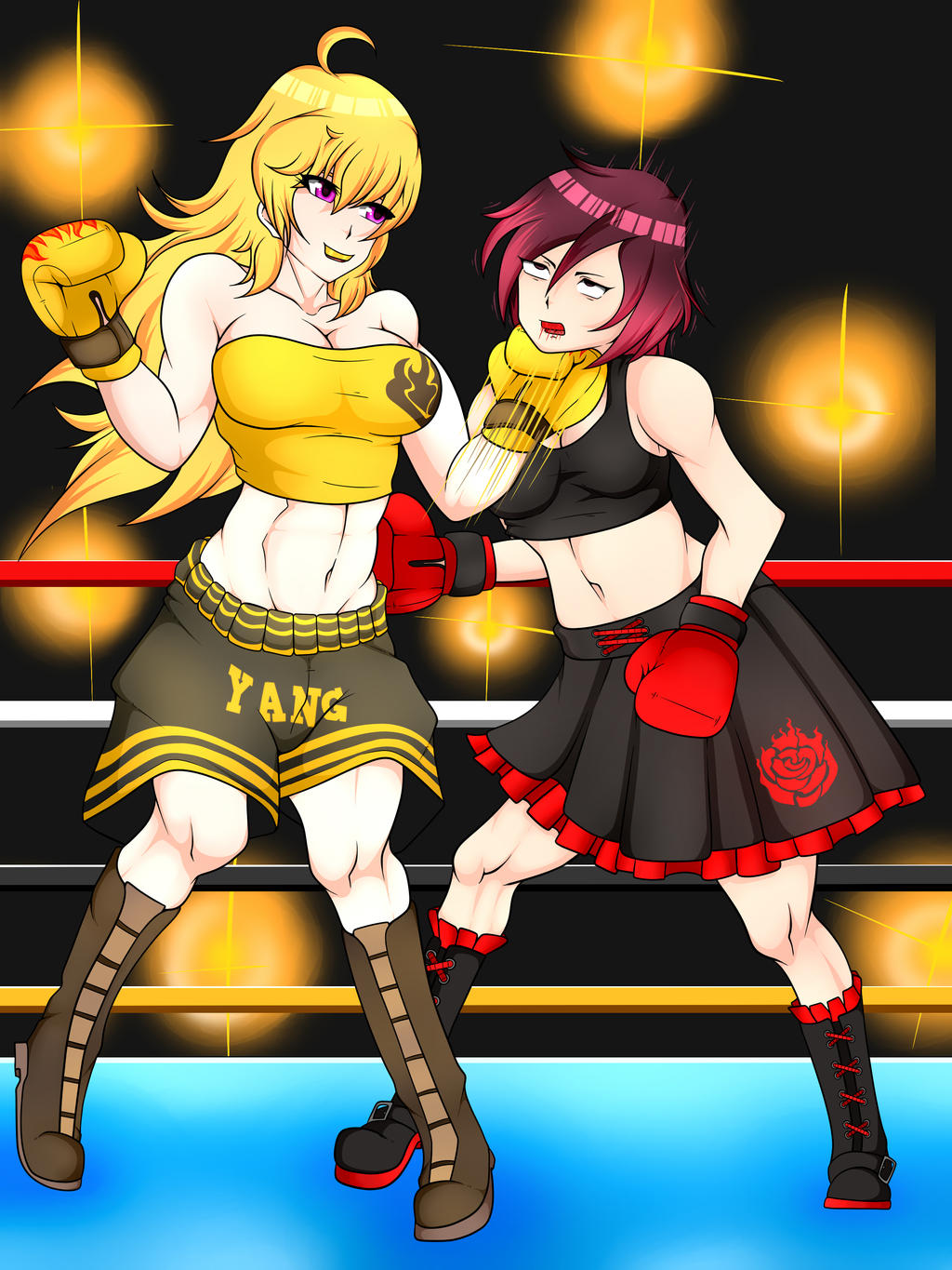 Yang Xiao Long vs. Ruby Rose by 3DBoxing