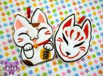 Maneki Neko and Kitsune Mask